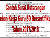 Contoh Surat Keterangan Beban Kerja Guru SD Bersertifikasi Tahun 2017/2018