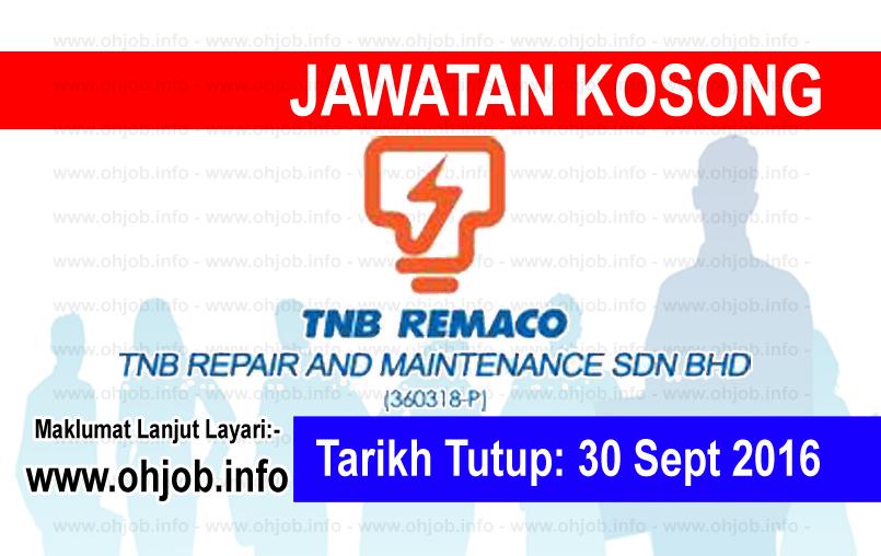 Jawatan Kerja Kosong Tenaga Nasional Berhad (TNB) Remaco logo www.ohjob.info september 2016