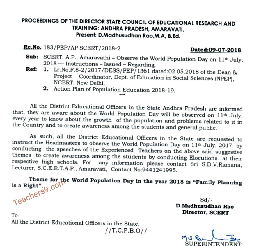 Rc.No.183 - Observe the World Population Day on 11th July 2018 Instructions