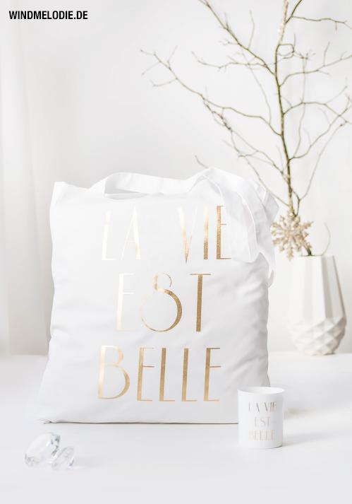 Jutebeutel Tasche gold weiß La Vie est belle