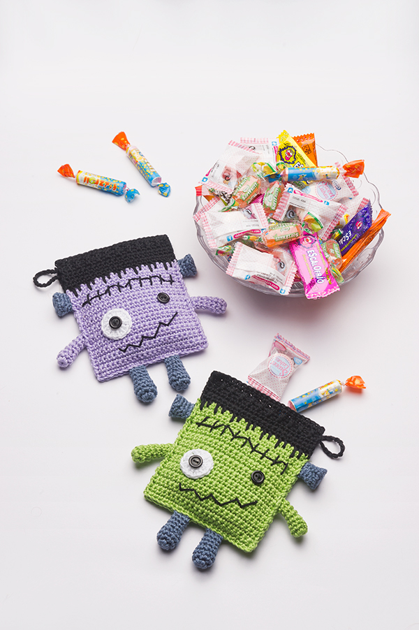 Frankenstein Candy Pouches free pattern