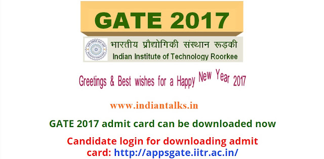 GATE 2017 Admit Cards / Hall Tickets