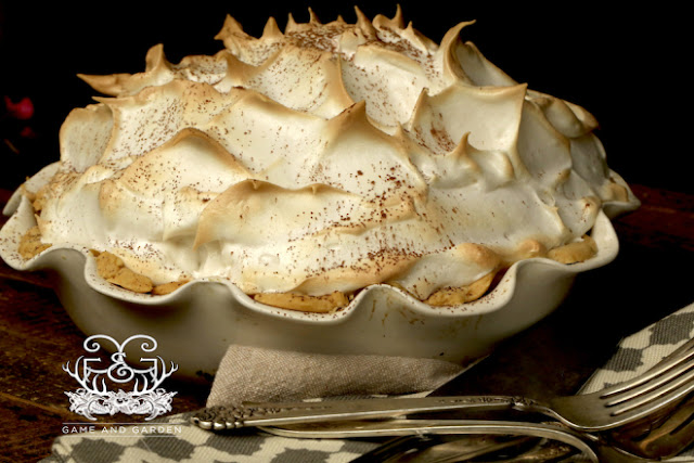 Grandmas Chocolate Meringue Pie recipe from Game and Garden