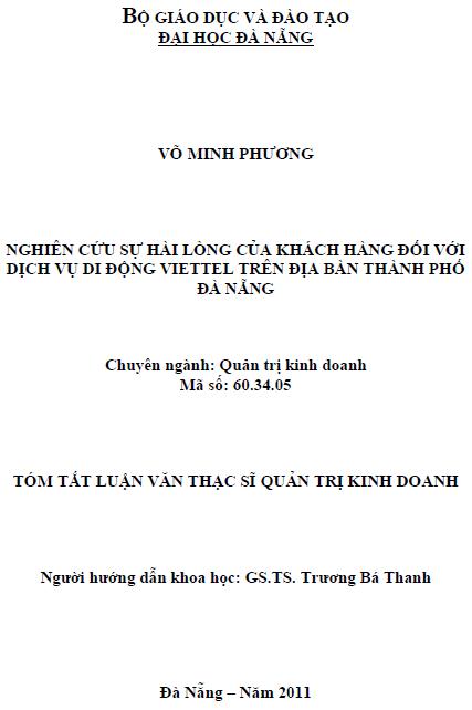 Nghiên cứu sự hài lòng của khách hàng đối với dịch vụ di động Viettel trên địa bàn thành phố Đà Nẵng