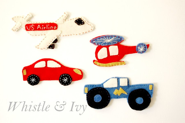 Felt car truck airplane and helicopter magnet toys