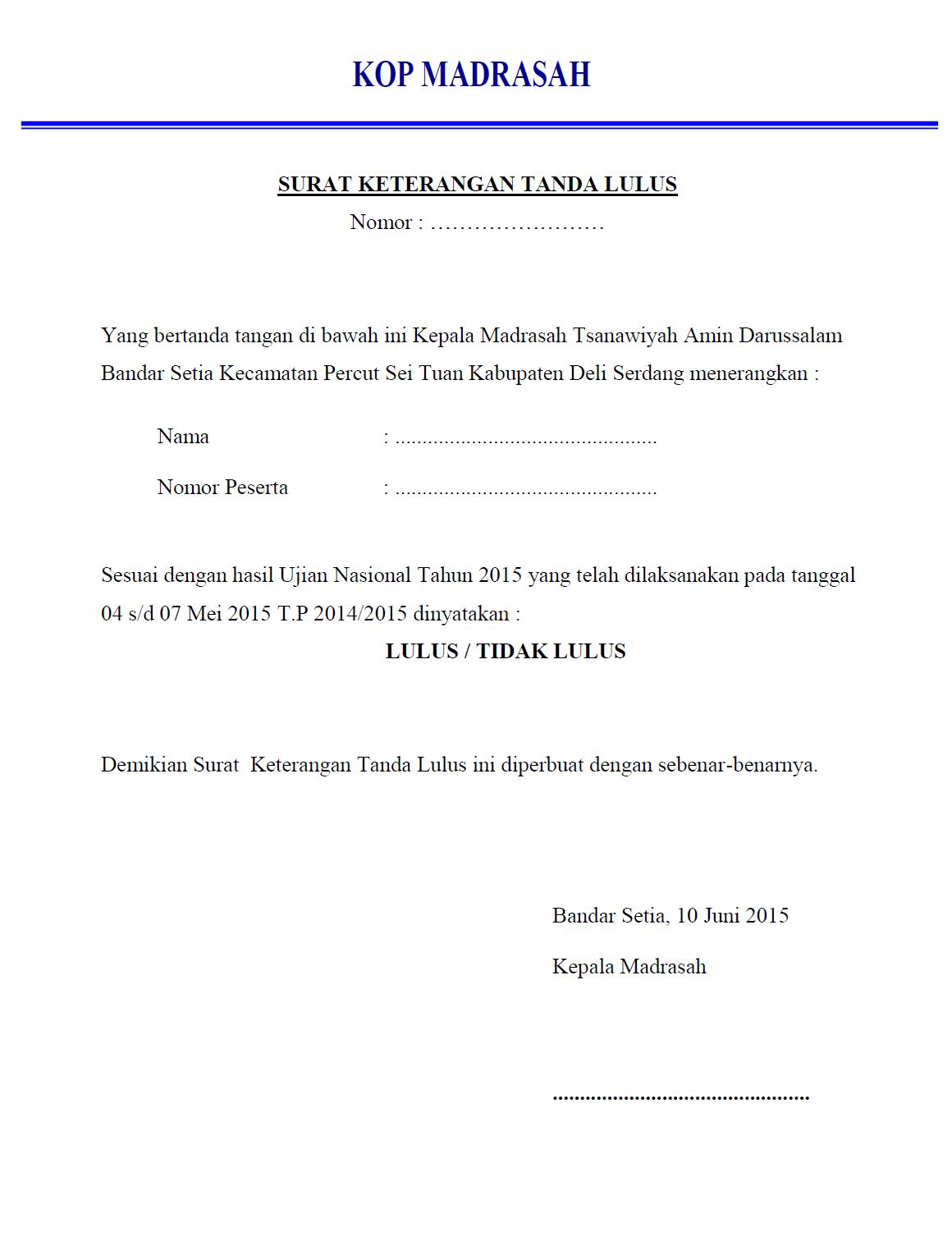 Mts Amin Darussalam Contoh Surat Pengumuman Kelulusan Cara Cepat