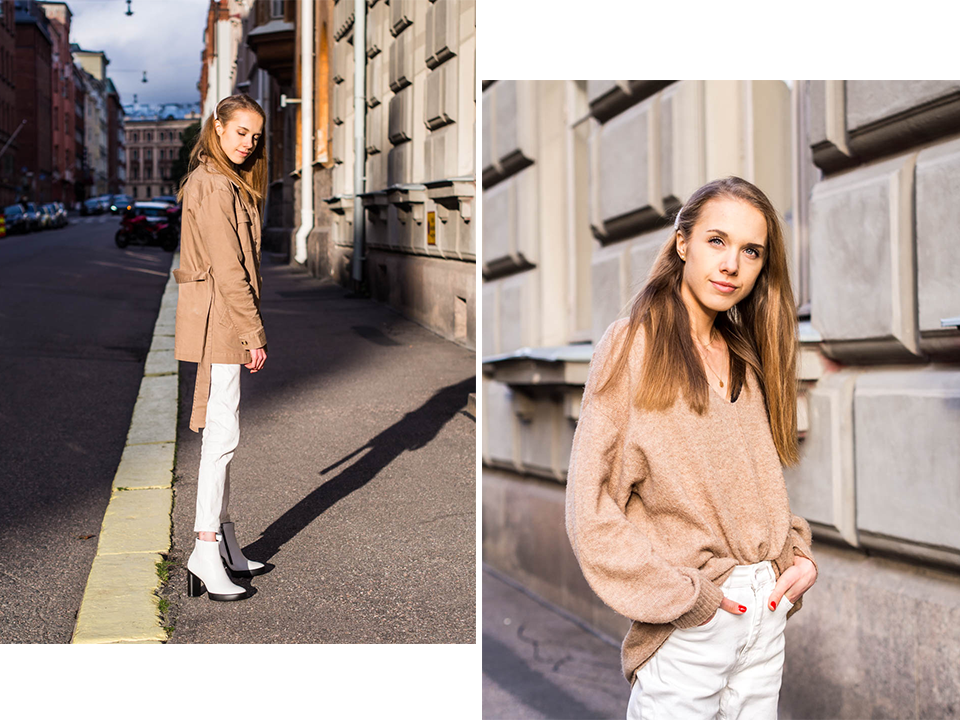 Fashion blogger autumn outfit inspiration from Helsinki with white leather ankle boots - Muotibloggaaja syysmuoti asuinspiraatio ja valkoiset nahkanillkkurit, Helsinki