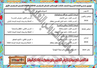 توزيع منهج اللغة العربية للصف الثالث الابتدائي للترم الاول 2018 - 2019