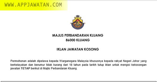 Jawatan Kosong kerajaan di Majlis Perbandaran Kluang