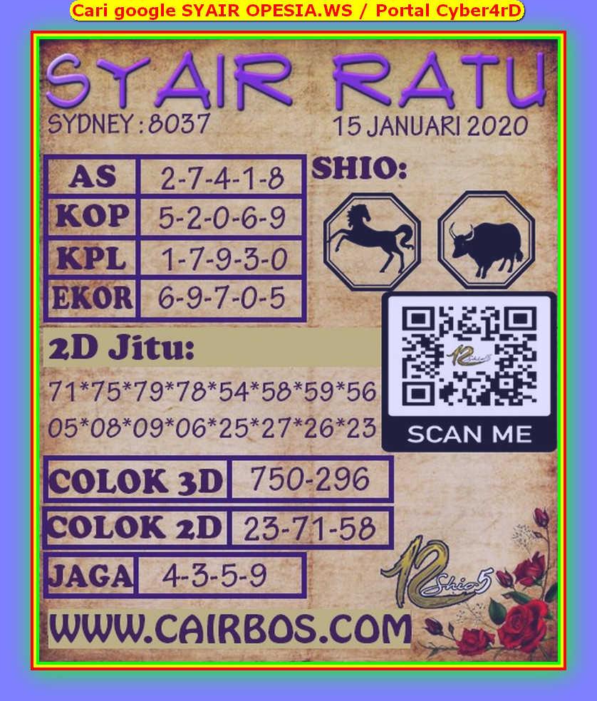 Kode syair Sydney Rabu 15 Januari 2020 141