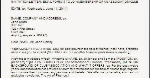 Invitation Letter To Join A Club