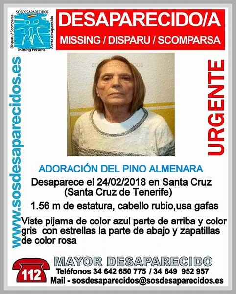 Adoración del Pino Almenara, mujer desaparecida en Santa Cruz de Tenerife