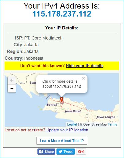 Cara cek IP Address dengan Website