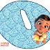 Alfabeto de Moana Bebé sobre el Agua.