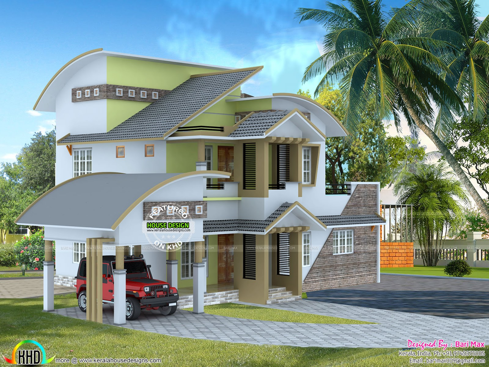 2050 sq ft modern home kerala home design and floor plans for Architecture 2050