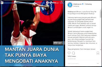Caption saat atlet yang telah mengharumkan nama bangsa tak mempunyai biaya untuk mengobati anaknya (instagram @kitabisa.com)