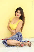 Cute Telugu Actress Shunaya Solanki High Definition Spicy Pos in Yellow Top and Skirt  0198.JPG