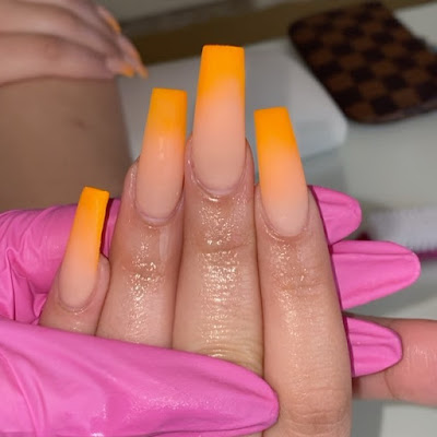26 of the latest orange and white nail designs to diy