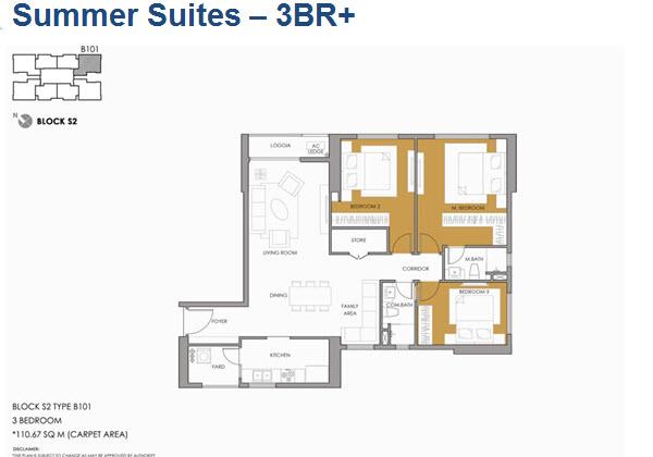 Thiết kế điển hình căn hộ 3 phòng ngủ - Seasons Avenue