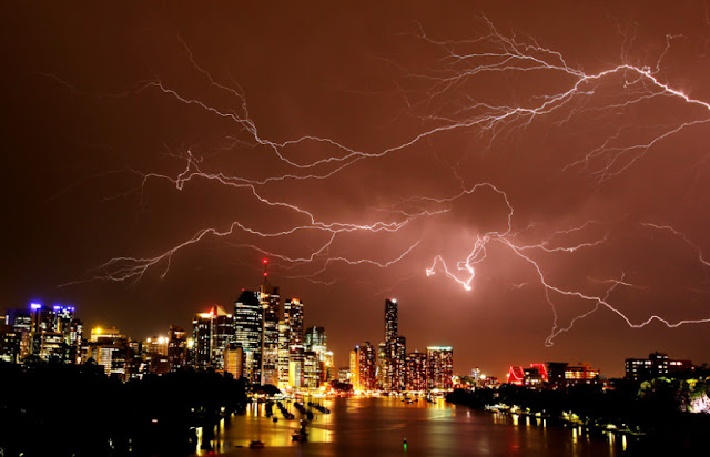 A lightning storm over Brisbane, Queensland, Australia lights up the night sky november 24, 2015