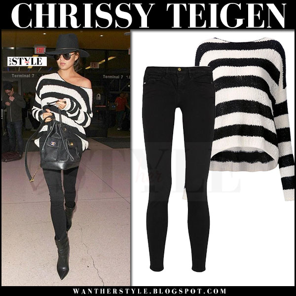 Chrissy Teigen in striped black and white sweater anthony thomas melillo and black skinny jeans frame denim what she wore