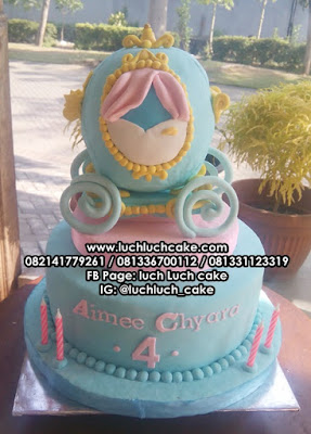 Kereta Cinderella Kue Tart Ulang Tahun 3d