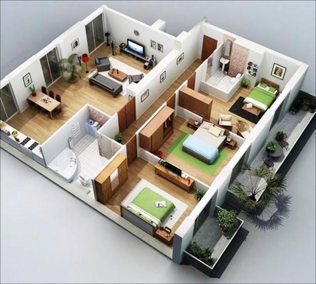 Planta de casa grande, com 3 quartos, 2 banheiros