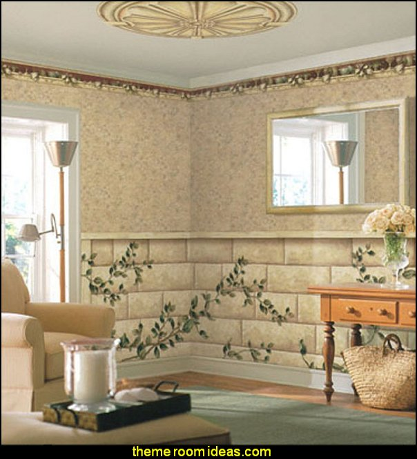 Alcove Wainscot Mural garden theme bedroom wall decorations