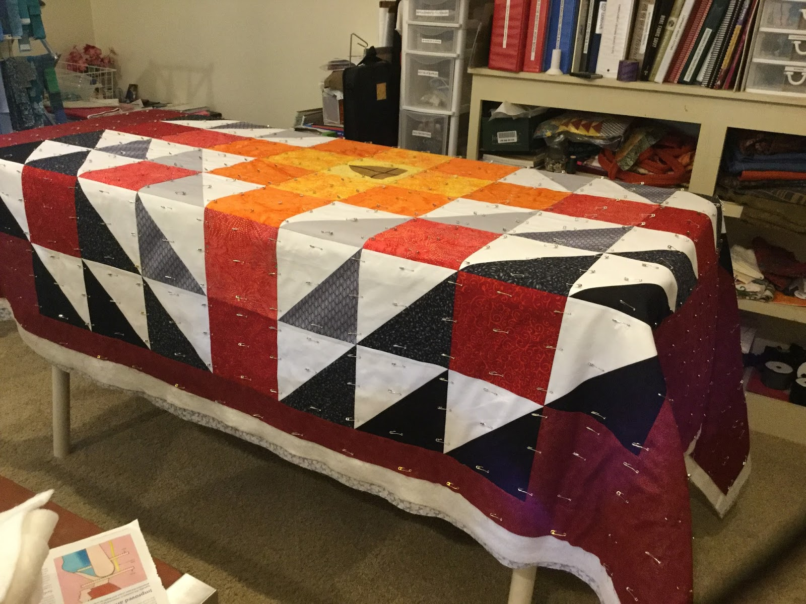 Cheeky Cognoscenti Bobbys Quilt Is Basted Ready For Quilting