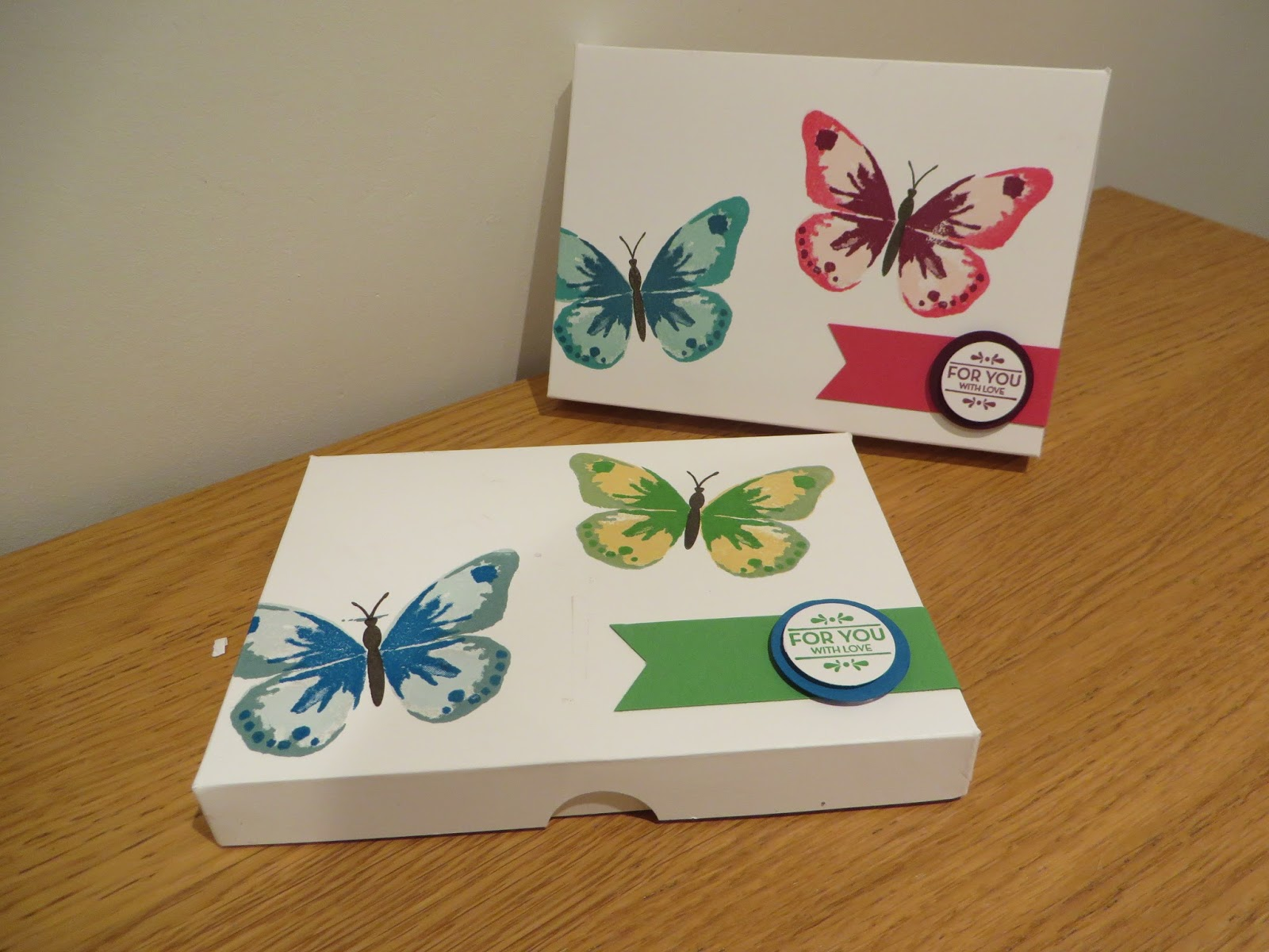 Craftycarolinecreates Watercolor Wings Card Gift Box Handmade