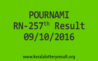 POURNAMI RN 257 Lottery Results 9-10-2016