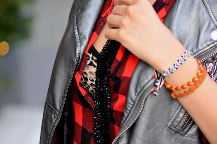 Plaid and Leopard, Supertrash Metallic moto jacket, Skinny scarf, Blogger
