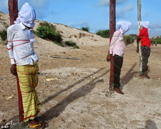 Three Al Shabaab members were executed by firing squad on August 3, 2014 near Mogadishu