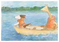 Postcard illustration of Hulmu Hukka and Haukku Spaniel in boat trip on the lake.