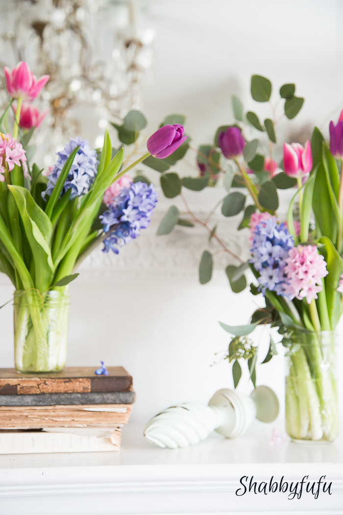 floral display for spring with hyacinth and tulips