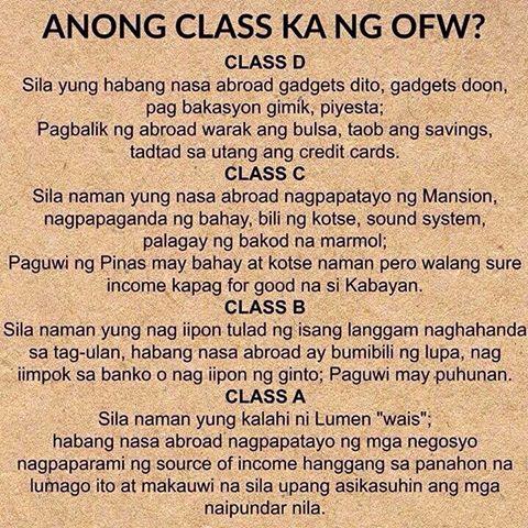 Anong Class ka ng OFW?