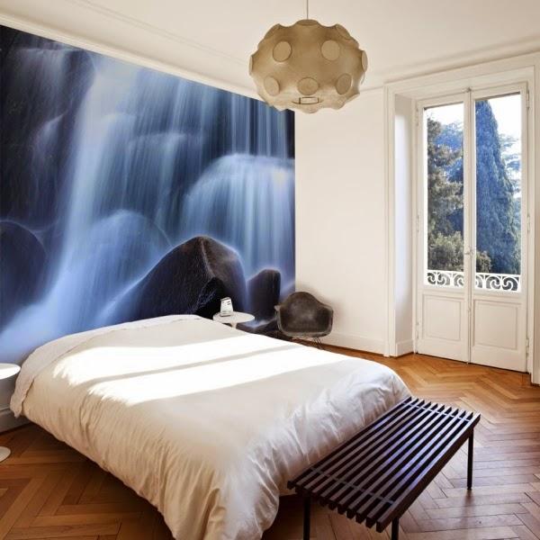 dormitorio decorado con mural