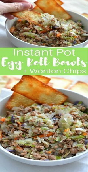 Instant Pot Egg Roll Bowls + Wonton Chips Recipe