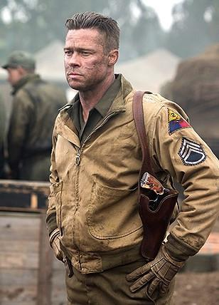Brad Pitt in Fury wearing an early pattern Tanker Jacket