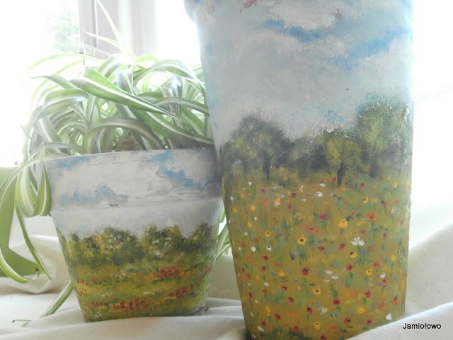 gliniane donice z krajobrazami
