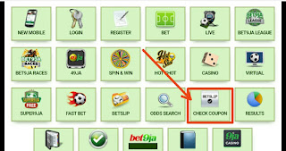 Bet9ja old mobile coupon checker page