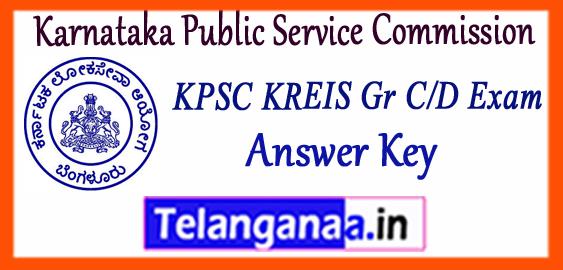 KPSC KREIS Karnataka Public Service Commission Gr D C Answer Key 2017