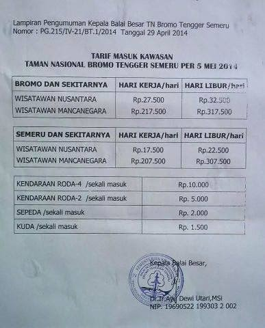 The Entrance Ticket Price For Mount Bromo Bromo Java Travel