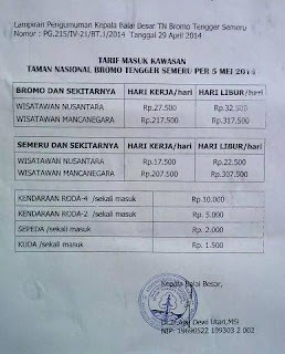 The Entrance Ticket Price For Mount Bromo