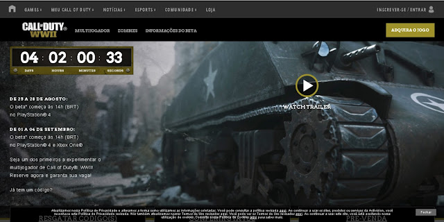 Confira como ter acesso ao beta do novo Call of Duty World at War II