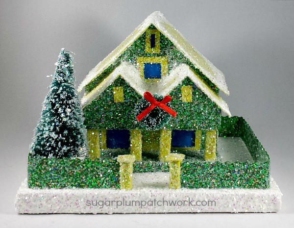 Green Glitter House by sugarplumpatchwork.com