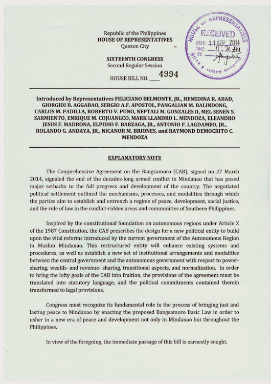 Information/Document : The draft Bangsamoro Basic Law - House Bill No.4994