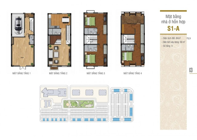 Thiết kế mặt bằng nhà ở hỗn hợp Shophouse S1-A La Casta Văn Phú, Hà Đông, Hà Nội của chủ đầu tư HiBrand