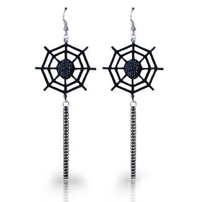 Spider Web Halloween Longline Fish Hook Earrings - Black