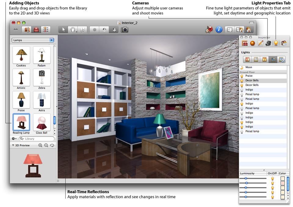 Interior design software 3d home design for Interior design drawing programs